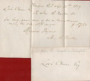1879 Newport Rhode Island Quaker Ephemera a: Levi Chase