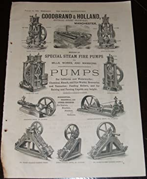 1886 Illustrated Advertisement for Goodbrand & Holland Steam Fire Pumps