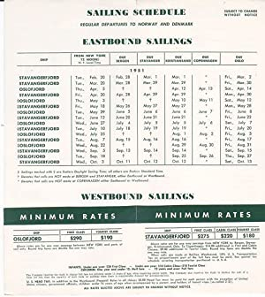 Original 1951 Eastbound Sailing Schedule for the: Norwegian American Line