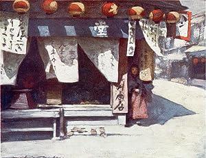 "Original Print ""Sun and Lanterns"" from Japan: Mortimer Menpes"