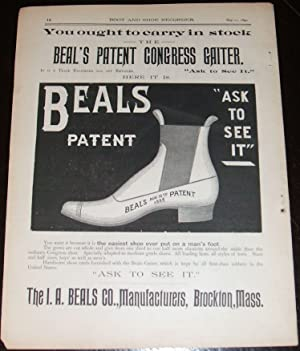 1890 Illustrated Shoe Manufacturers Advertisement I. A. Beals, Brockton, Ma,