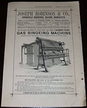 1886 Illustrated Advertisement for Gas Singeing Machine Joseph Robinson & Co