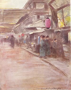 "Original 1905 Print ""Apricot-Blossom Street"" from Japan: Mortimer Menpes"