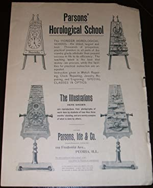 1893 Illustrated Advertisement for Parson's Horological School, Peoria, ILL