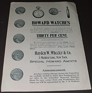 A 11 by 15 Inch 1893 Illustrated: Chicago Watch Tool