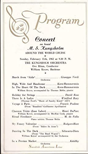 1962 Souvenir Program from a Concert on: Swedish American Line