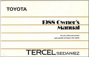 1988 Owner's Manual Tercel Sedan/ez: Toyota Motor Corporation