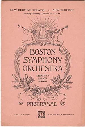 A Souvenir Program for the First Concert of 1910 by the Boston Symphony Orchestra At the New Bedf...