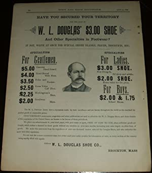 Original 1890 Full Page Illustrated Advertisement for W. L. Douglas Shoe Company