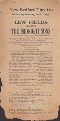 1910 New Bedford Theatre Handbill for the Show the Midnight Sons