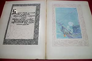 A Vintage Color Plate with Facing Page of a Ship in the Mist from the 1910 Edition of the Rime of...