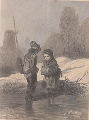 A Beautiful 1870 Antique Engraving of Children