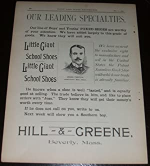 1890 Illustrated Shoe Advertisement for Hill & Greene Beverly, Mass