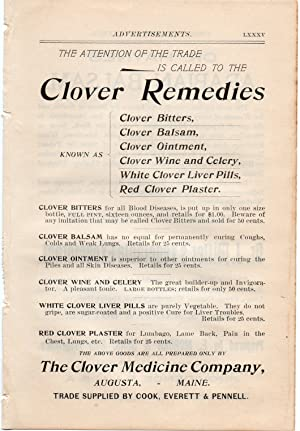 An Original 1896 Full Page Advertisement for Clover Remedies , Bitters , Liver Pills Others