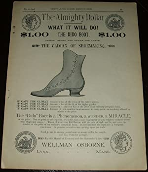 Original 1890 Full Page Illustrated Advertisement for Wellman Osborne Shoes