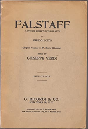 Vintage 1909 Issue of Falstaff a Lyrical Comedy in Three Acts