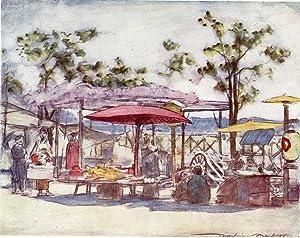 "Original 1905 Print ""The Scarlet Umbrella"" by: Mortimer Menpes"