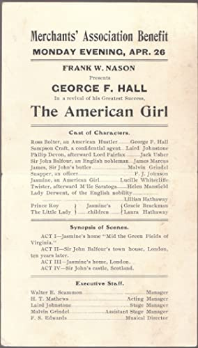 A Vintage 1909 Advertising Handbill for the American Girl with George F. Hall