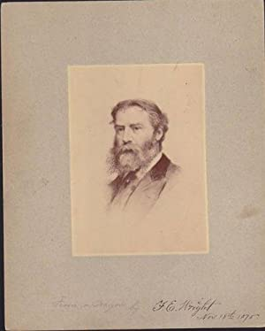 Original 1875 Print of James Russell Lowell: Wright, F. E.