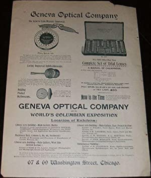 1893 Illustrated Advertisement for Geneva Optical Co. of Chicago , ILL