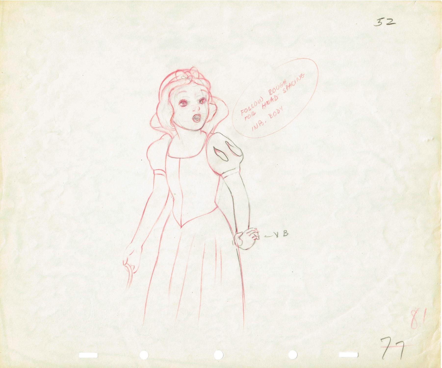 Original Drawing of Snow White [Disney, Walt] Fine
