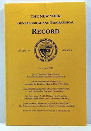 The New York Genealogical and Biographical Record, Volume 143, Number 4 (October 2012)