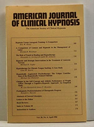 The American Journal of Clinical Hypnosis, Volume 28, Number 4 (April 1986)