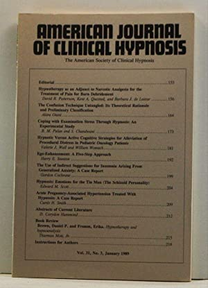 The American Journal of Clinical Hypnosis, Volume 31, Number 3 (January 1989)
