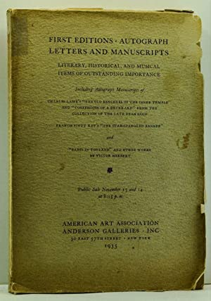 First Editions, Autograph Letters and Manuscripts: Literary, HIstorical and Musical Items of Outs...