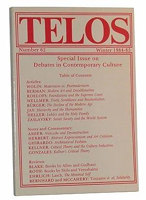 Telos, Number 62 (Winter 1984-85): Piccone, Paul (Ed.);