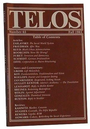 Telos, Number 65 (Fall 1985): Piccone, Paul (Ed.);