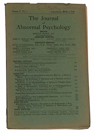 The Journal of Abnormal Psychology, Volume V,: Prince, Morton (ed.);