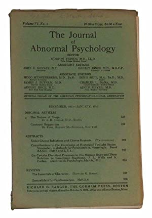 The Journal of Abnormal Psychology, Volume VI,: Prince, Morton (ed.);