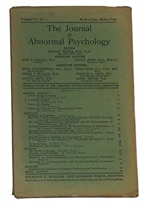 The Journal of Abnormal Psychology, Volume VII,: Prince, Morton (ed.);