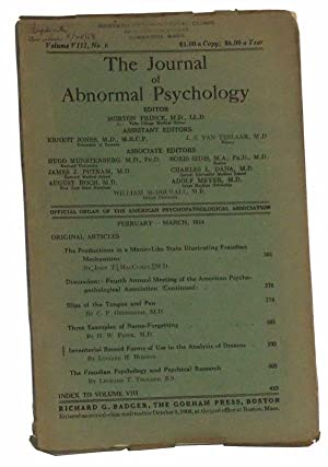 The Journal of Abnormal Psychology, Volume VIII,: Prince, Morton (ed.);