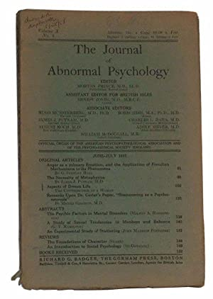 The Journal of Abnormal Psychology, Volume X,: Prince, Morton (ed.);