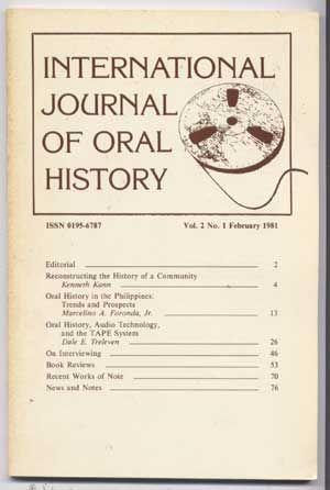 International Journal of Oral History, Volume 2, Number 1, February 1981)