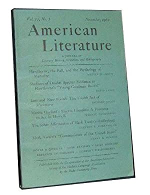 American Literature: A Journal of Literary History,: Turner, Arlin (ed.);