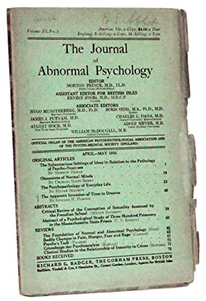 The Journal of Abnormal Psychology, Volume 11,: Prince, Morton (ed.);