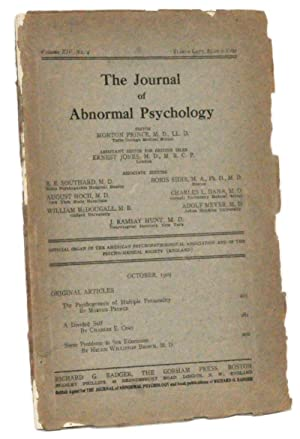 The Journal of Abnormal Psychology, Volume 14, No. 4 (October 1919)