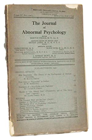 The Journal of Abnormal Psychology, Volume 15, Nos. 2 and 3 (June-September 1920)