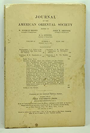 Journal of the American Oriental Society, Volume 53, Number 2 (June 1933)