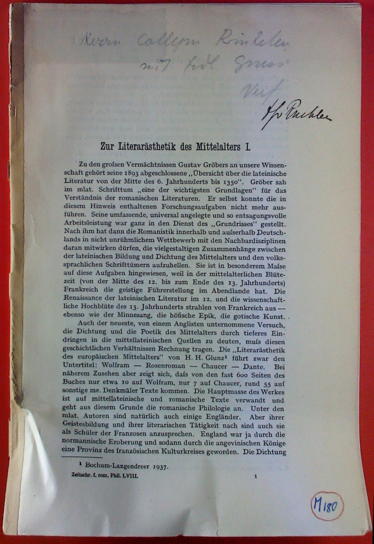 Zur Literaturästhetik des Mittelalters I.: E. R. Curtius