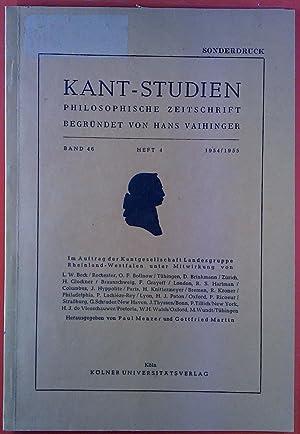 Kant-Studien. Philosophische Zeitschrift. Begründet von Hans Vaihinger.: Hrsg. Gottfried Martin,
