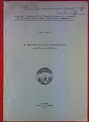Il Principio Di Non-Contraddizione: Scintilla Rationis.: Carlo Giacon