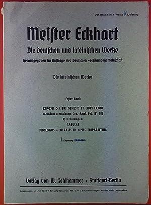 Meister Eckhart. Die deutschen und lateinischen Werke.: Hrsg: im Auftrage