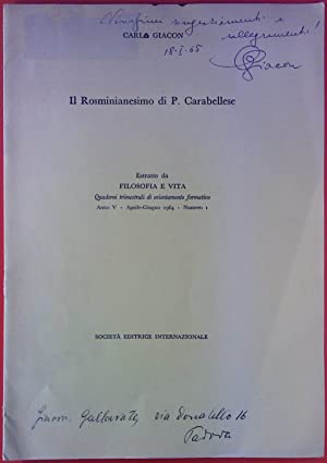 Il Rosminianesimo di P. Carabellese. Estratto da: Carlo Giacon