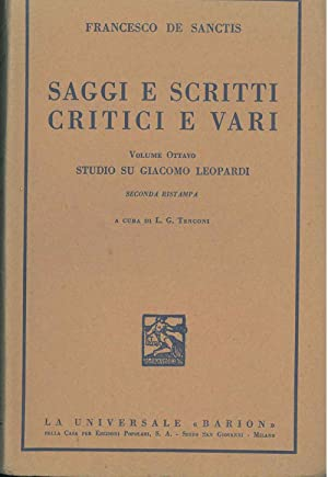 Saggi e scritti critici e vari. Volume: De Sanctis Francesco