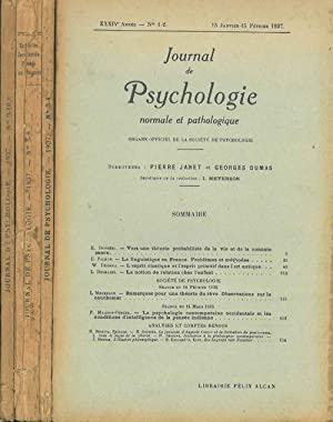 Journal de psychologie normale ed pathologique. Organe officiel de la société de psychologie. XXX...