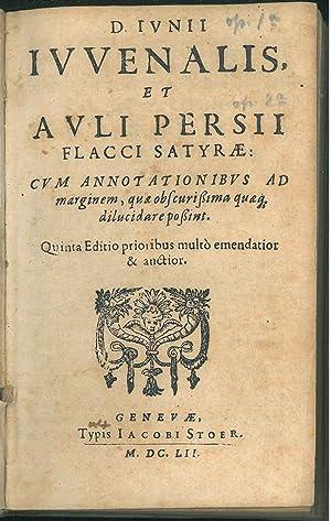 Iuvenalis et Auli Persii Flacci satyrae: cum: Giovenale, Aulo Persio